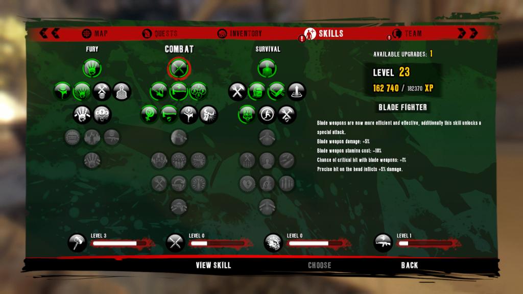 Dead Island Riptide menù abilità - conoscere sé stessi e sbloccare i perks