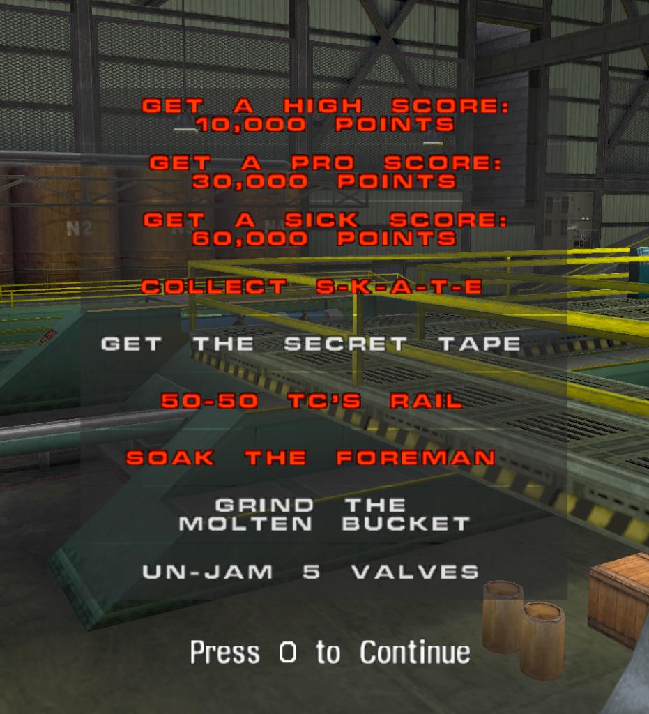 Challenge di Tony Hawk's Pro Skater, produttività- livello Foundry.
